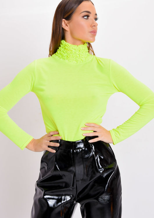 Neon Ruched Turtleneck Long Sleeve Jersey Top Yellow