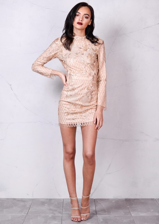 Nude Sequin Backless Mini Bodycon Dress Gold