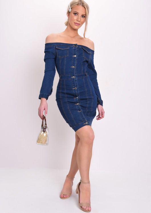 Off Shoulder Button Through Bodycon Mini Dress Blue