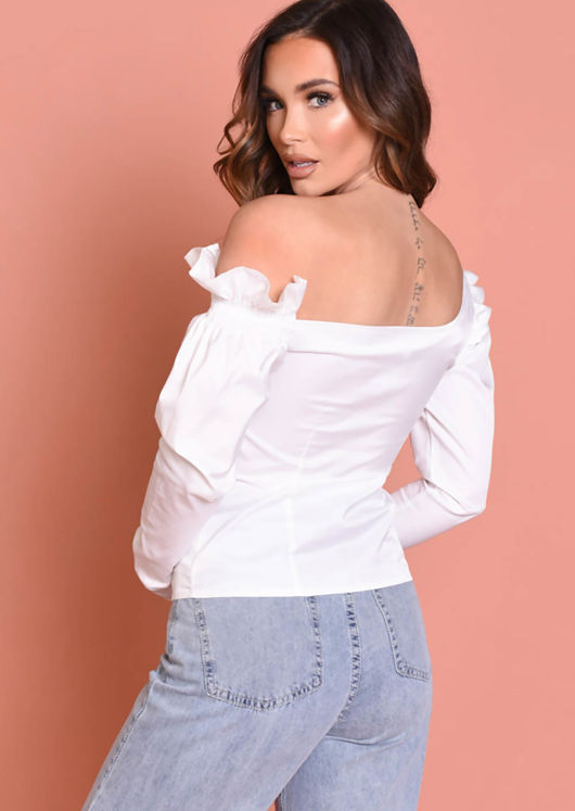 Off Shoulder Long Sleeved Button Fronted Shirt Blouse White