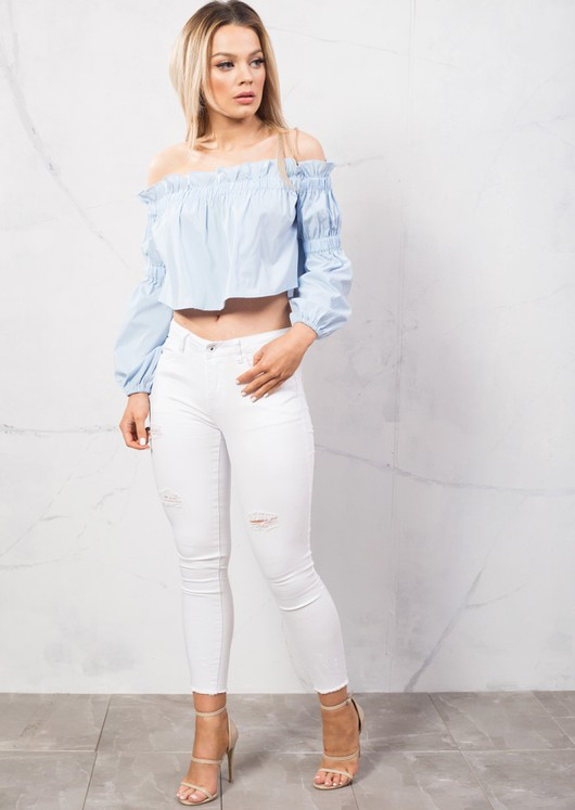 Off Shoulder Ruffle Detail Crop Shirt Top Blue