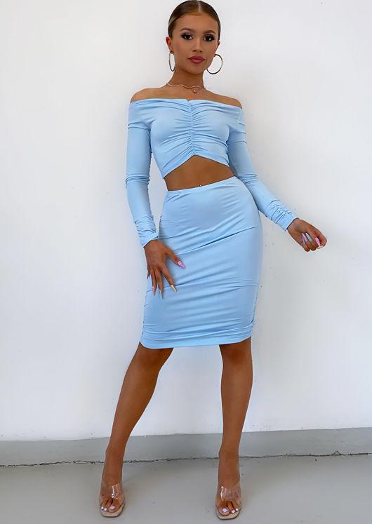 Off Shoulder Slinky Crop Top Ruched Skirt Co-ord Set Blue