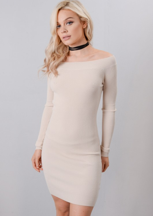 Off The Shoulder Knitted Bodycon Dress Beige