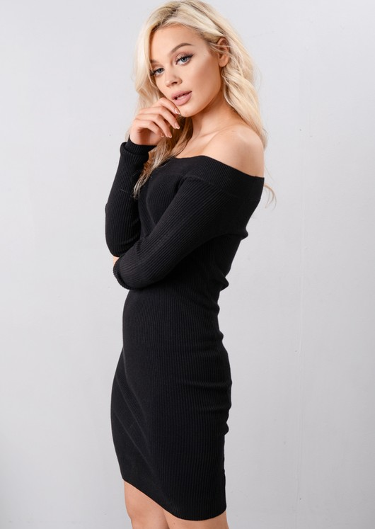 Off The Shoulder Knitted Bodycon Dress Black