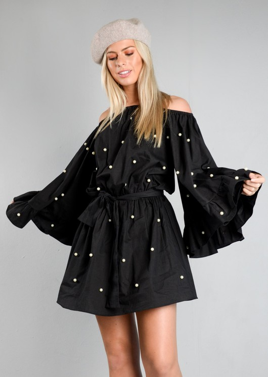 Off The Shoulder Pearl Embellished Wide Sleeve Dress Black