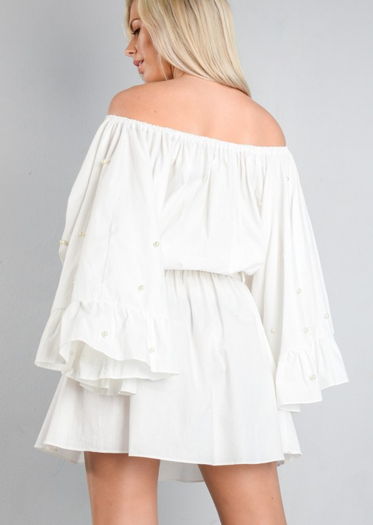 Off The Shoulder Pearl Embellished Wide Sleeve Dress White