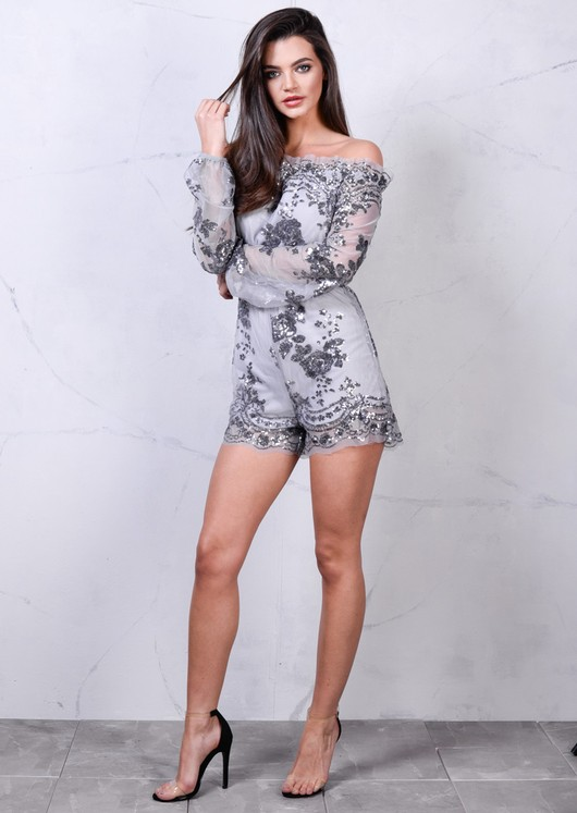 Off The Shoulder Sequin Detail Playsuit Grey Silver