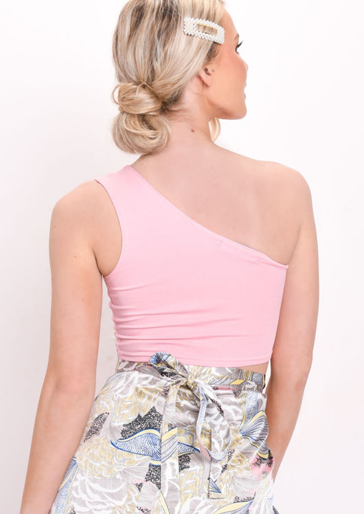 One Shoulder Crop Top Pink