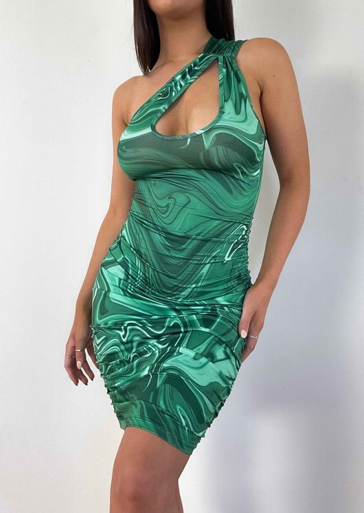 Abstract One Shoulder Cut Out Side Ruched Mini Bodycon Dress Green
