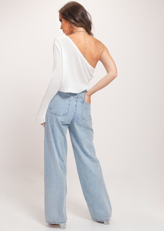 One Shoulder Drawstring Knitted Sleeve Crop Top White