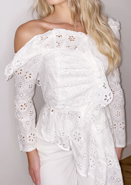 One Shoulder Broderie Anglaise Cut Out Drape Top White