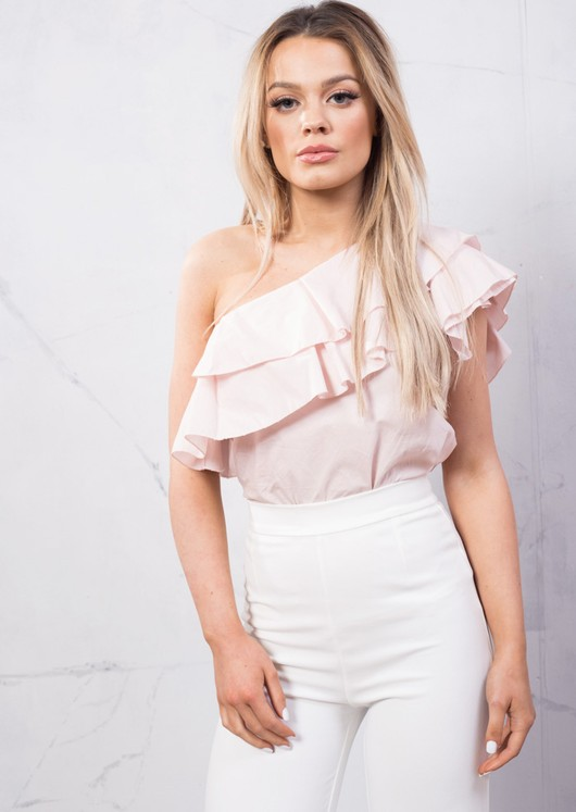 One Shoulder Frill Shirt Top Pink