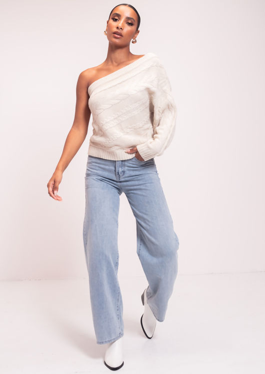 One Shoulder Sleeve Cable Knit Sweater Top Beige
