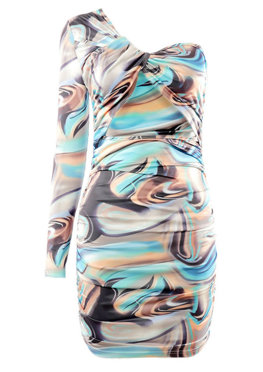 One Shoulder Sleeved Abstract Print Front Cut Out Mini Dress Multi