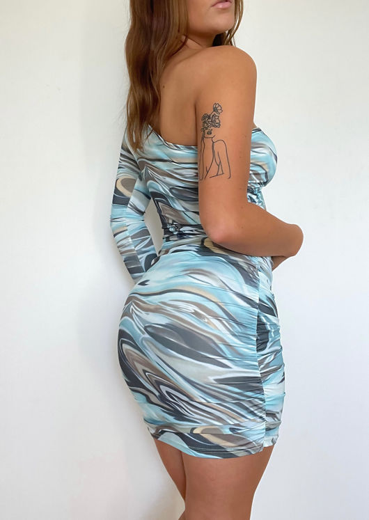 One Shoulder Abstract Print Front Cut Out Mini Bodycon Dress Multi