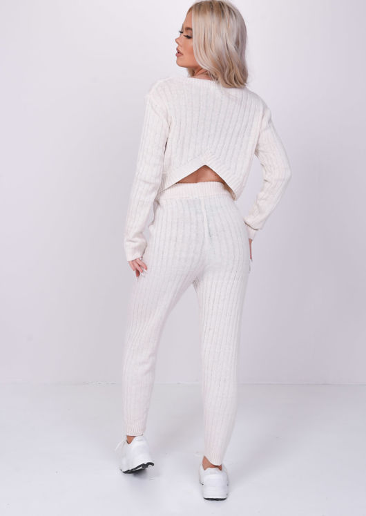 Open Back Knitted Cropped Sweater And Trousers Loungewear Co-Ord Beige