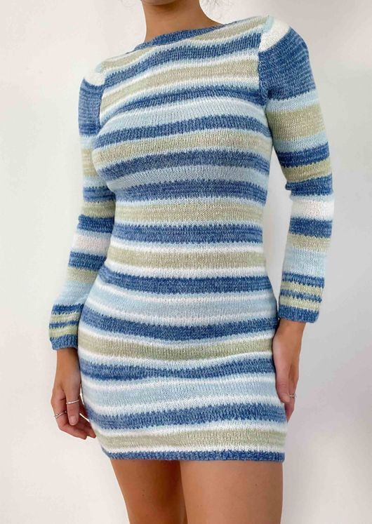 Open Back Knitted Stripe Patterned Flared Sleeve Mini Dress Blue