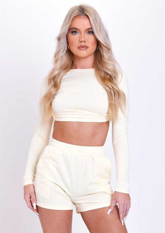 Open Back Tie Crop Top And High Waisted Shorts Co-Ord Set Beige
