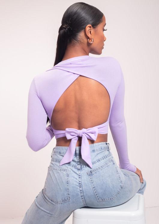 Ribbed Tie Open Back Tie Long Sleeve Crop Top Purple
