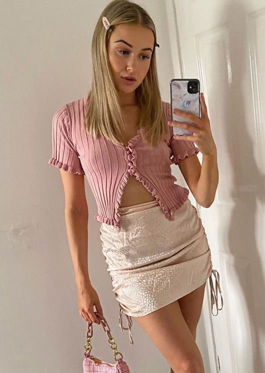 Knitted V Neck Frill Button Front Top Pink