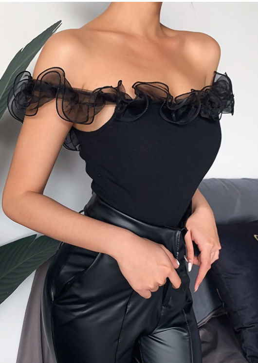 Organza Bardot Ruffle Ribbed Crop Top Black