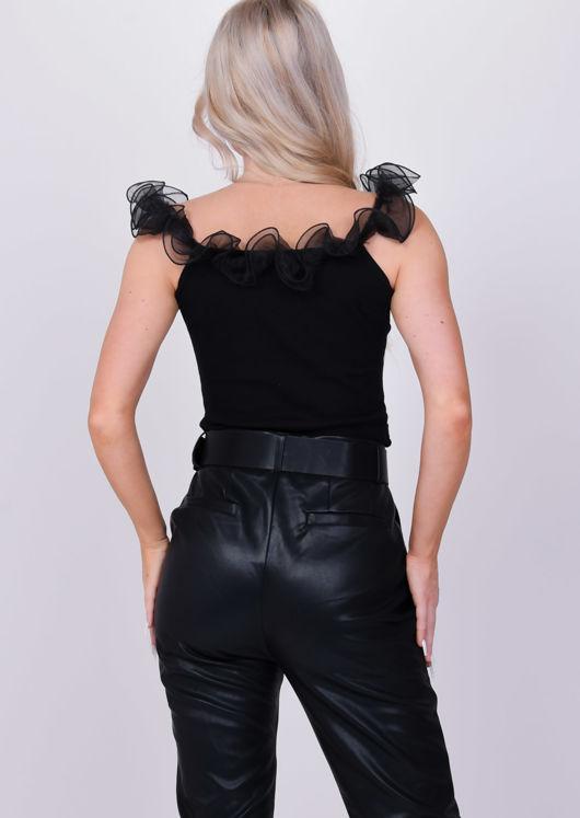 Organza Bardot Ruffle Ribbed Crop Top Black