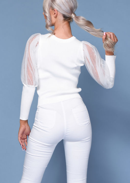 Organza Mesh Puff Long Sleeve Knitted Top White