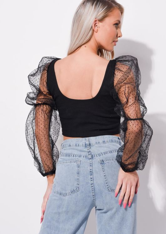 Organza Polka Dot Mesh Puff Long Sleeve Crop Top Black