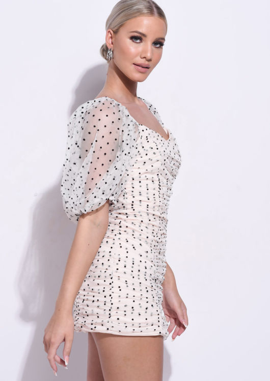 Organza Polka Dot Puffed Sleeve Ruched Mini Bodycon Dress Pink