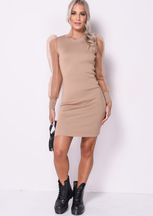 Organza Puff Sleeve Midi Knitted Jumper Dress Beige