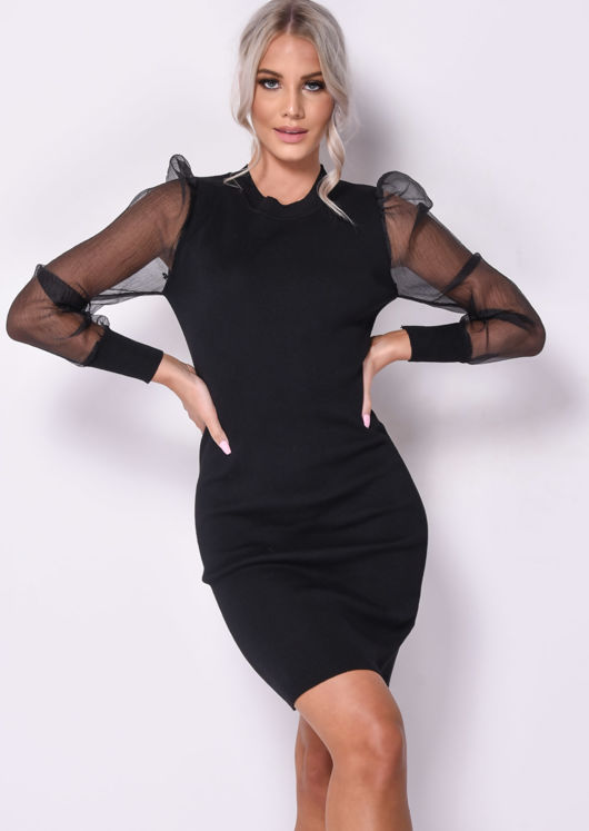 Organza Puff Sleeve Midi Knitted Jumper Dress Black