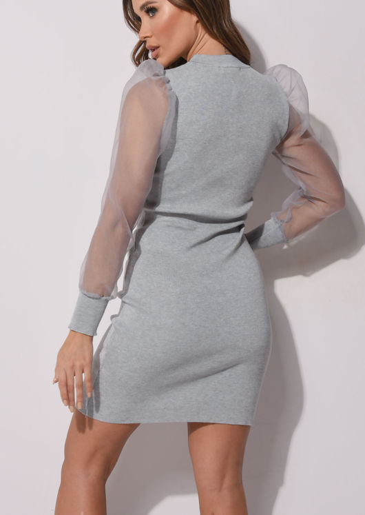 Organza Puff Sleeve Midi Knitted Jumper Dress Grey