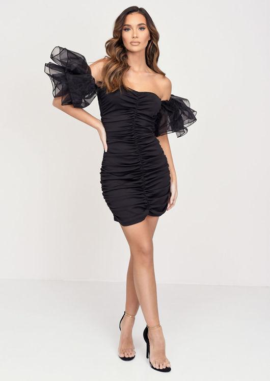 Organza Ruffle Sleeve Off Shoulder Mini Dress Black
