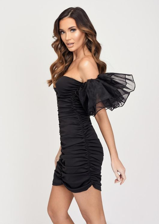 Organza Ruffle Sleeve Off Shoulder Mini Dress Black