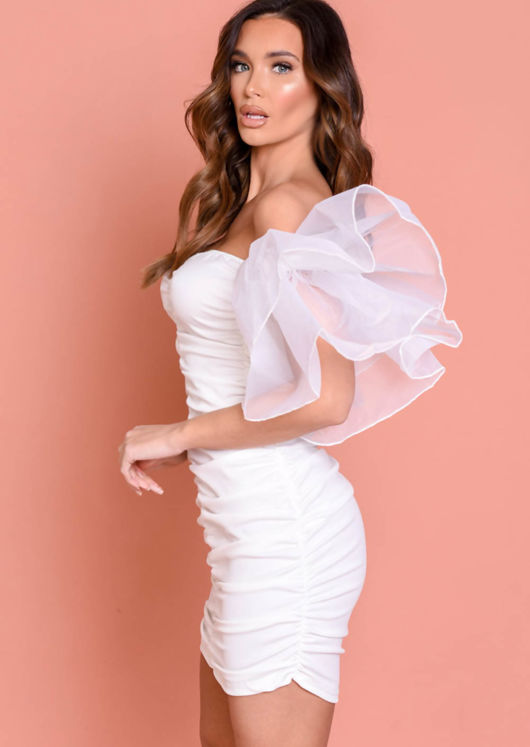 Organza Ruffle Sleeve Off Shoulder Mini Dress White
