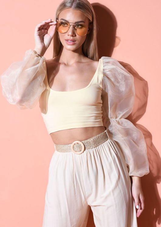 Organza Scoop Neck Puff Long Sleeve Crop Top Yellow