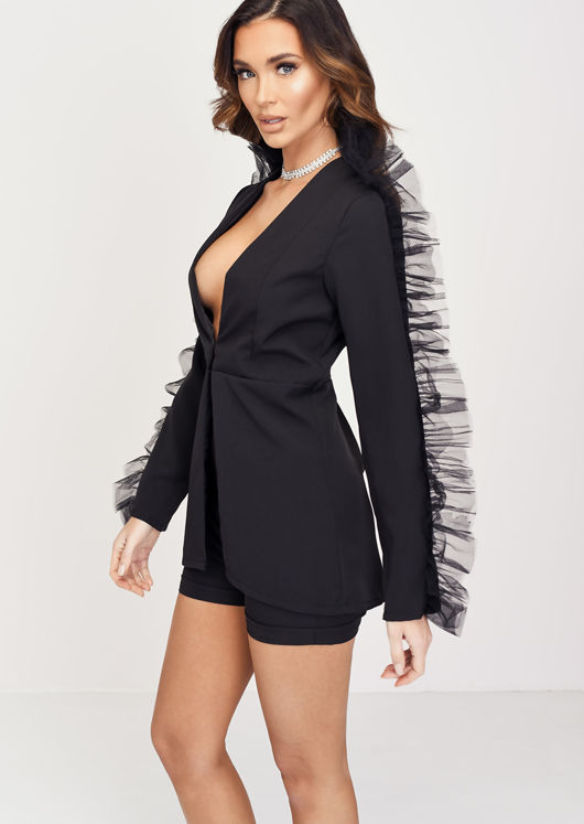 Organza Sleeve Detail Blazer Short Co ord Set Black