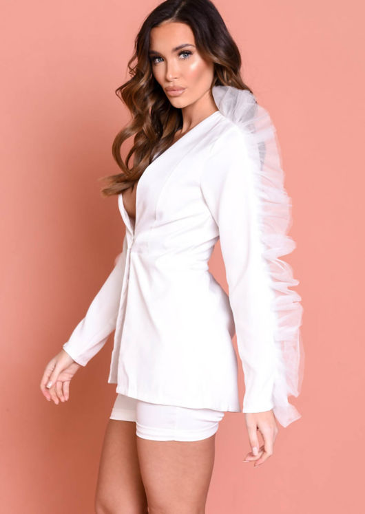 Organza Sleeve Detail Blazer Short Co ord Set White