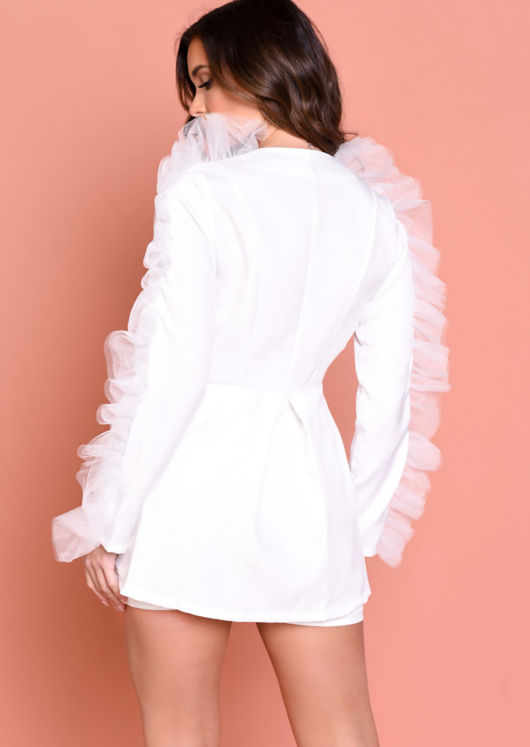 Organza Sleeve Detail Blazer Short Co ord Set White