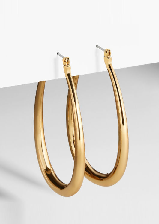 Oval Drop Hoop Earrings Gold