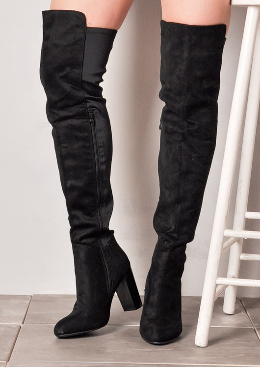 Over The Knee Block Heel Thigh High Long Boots With Elasticated Panel Black