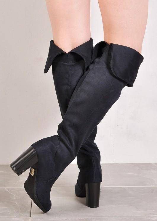 Over The Knee Block Heel Open Back Suede Heeled Boots Navy Blue