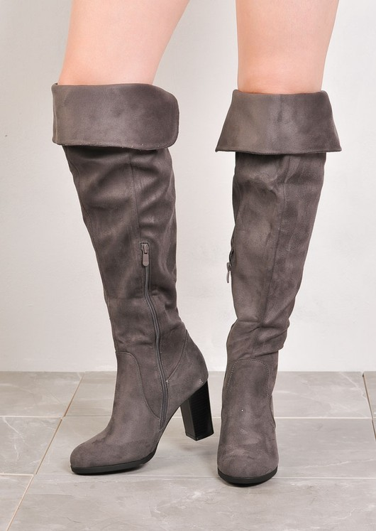 Over The Knee Block Heel Open Back Suede Heeled Boots Grey