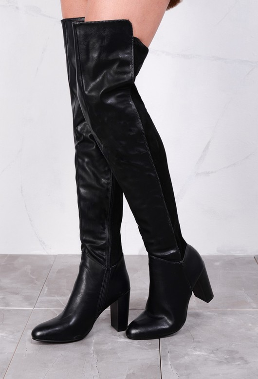 Leather Over The Knee Block Heel Thigh High Long Boots With Suede Panel Black