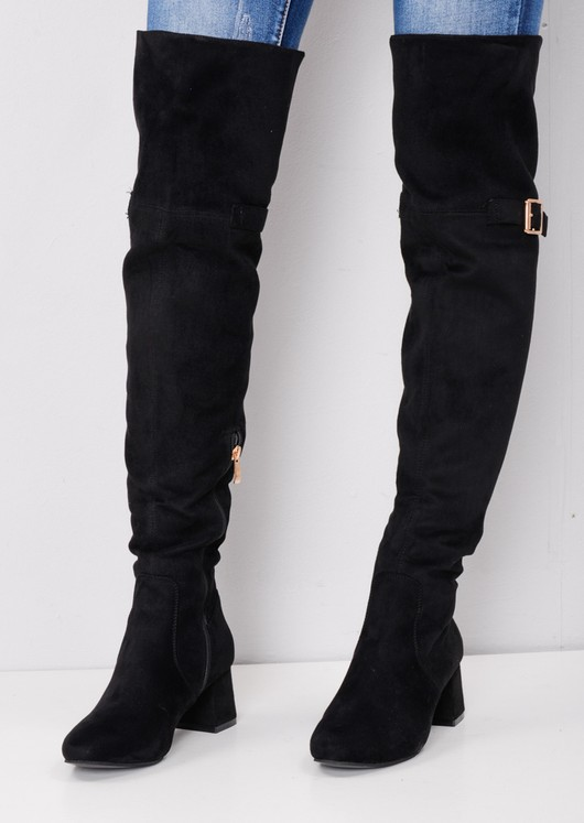 5dddfc6067 Over the Knee Buckle Block Heel Boots Black