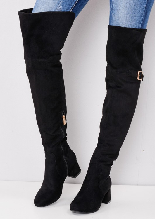 Over the Knee Buckle Block Heel Boots Black