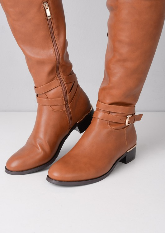 Over The Knee Buckle Strap PU Boots Brown