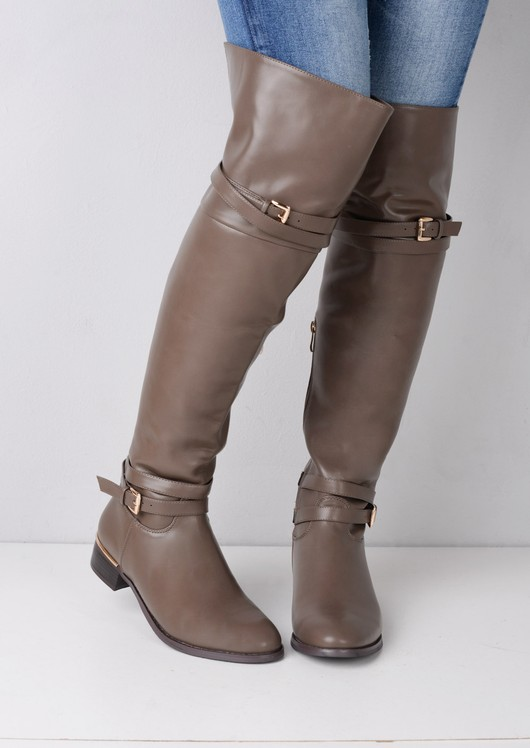 Over The Knee Buckle Strap PU Boots Taupe Grey