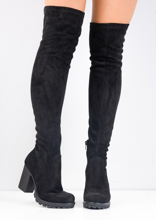 Over The Knee High Faux Suede Cleated Sole Platform Boots Black