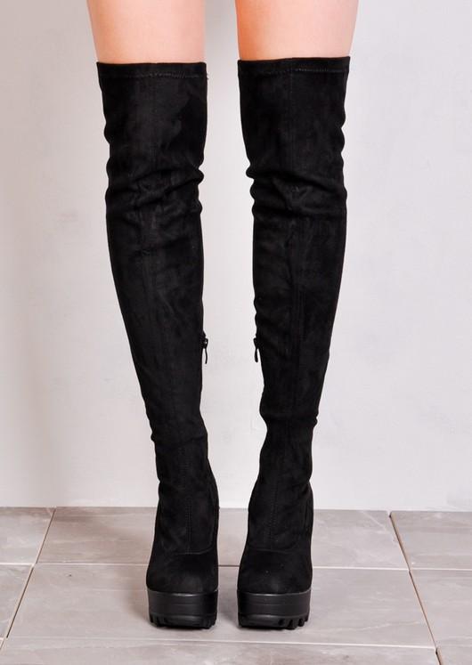 long black platform boots